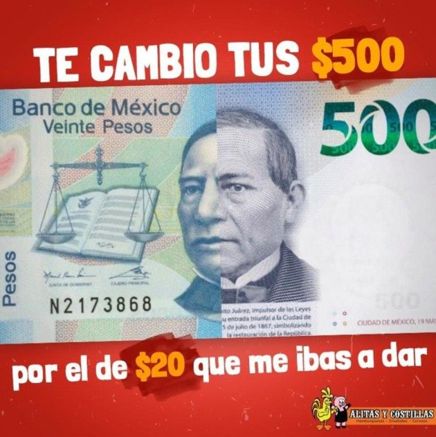 Confunde billete de 500 pesos con uno de 20