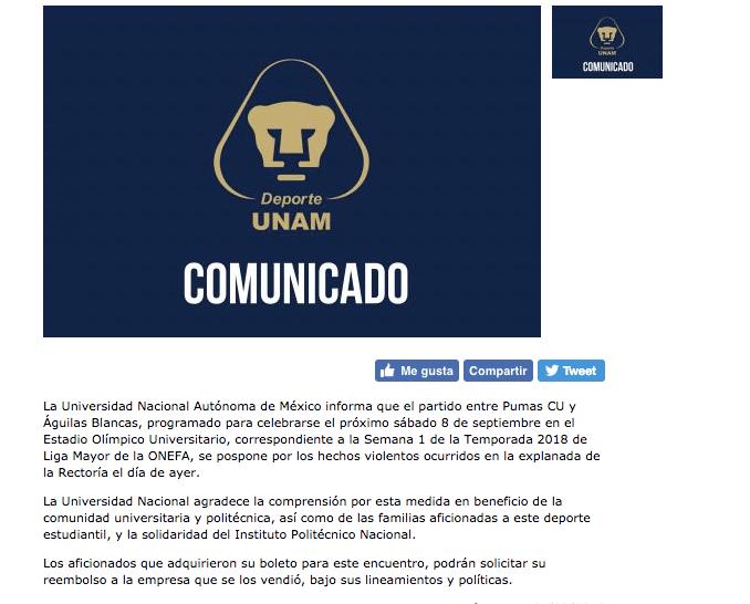 Partido entre Pumas CU y Águilas Blancas se suspendió por violencia