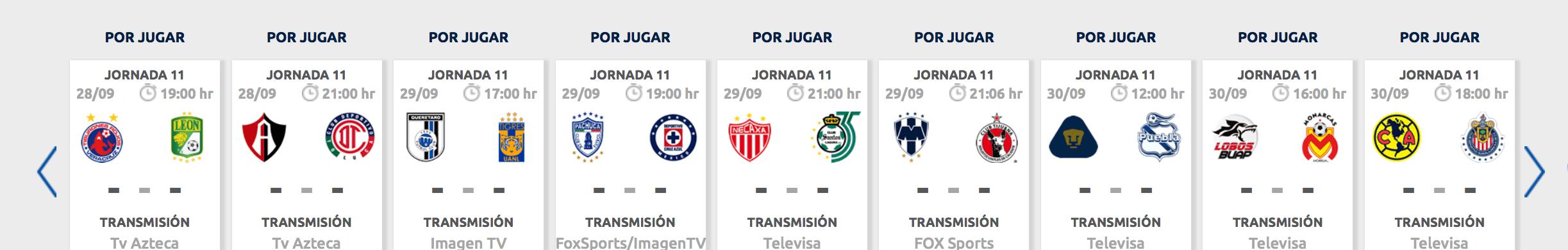 ¿Cuándo, cómo y dónde ver en vivo la Jornada 11 del Apertura 2018?