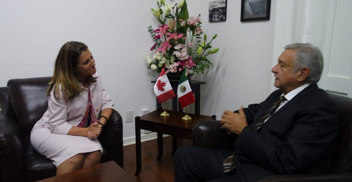 La canciller de Canadá, Chrystia Freelan y el presidente electo electo de México, Andrés Manuel López Obrador.