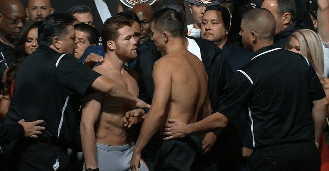Seestanpeliando! El 'Canelo' y Golovkin casi se agarran antes de la pelea