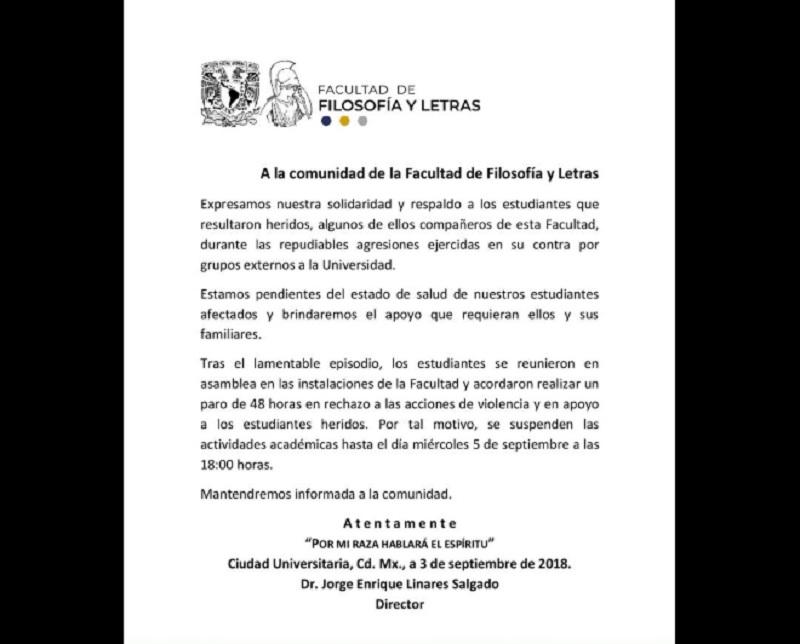 Comunicado de la FFyL UNAM