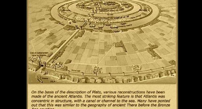 Un mapa ficticio de la Atlántida