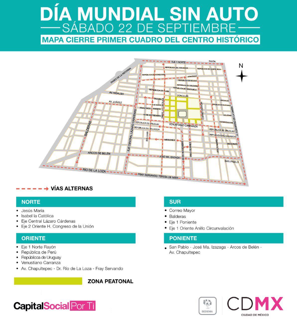 Primer cuadro del Centro Histórico CDMX será solo peatonal por el Día Mundial Sin Auto