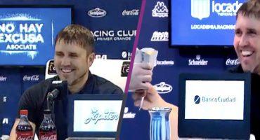 DT de Racing ganó cono de papas por una apuesta en conferencia de prensa