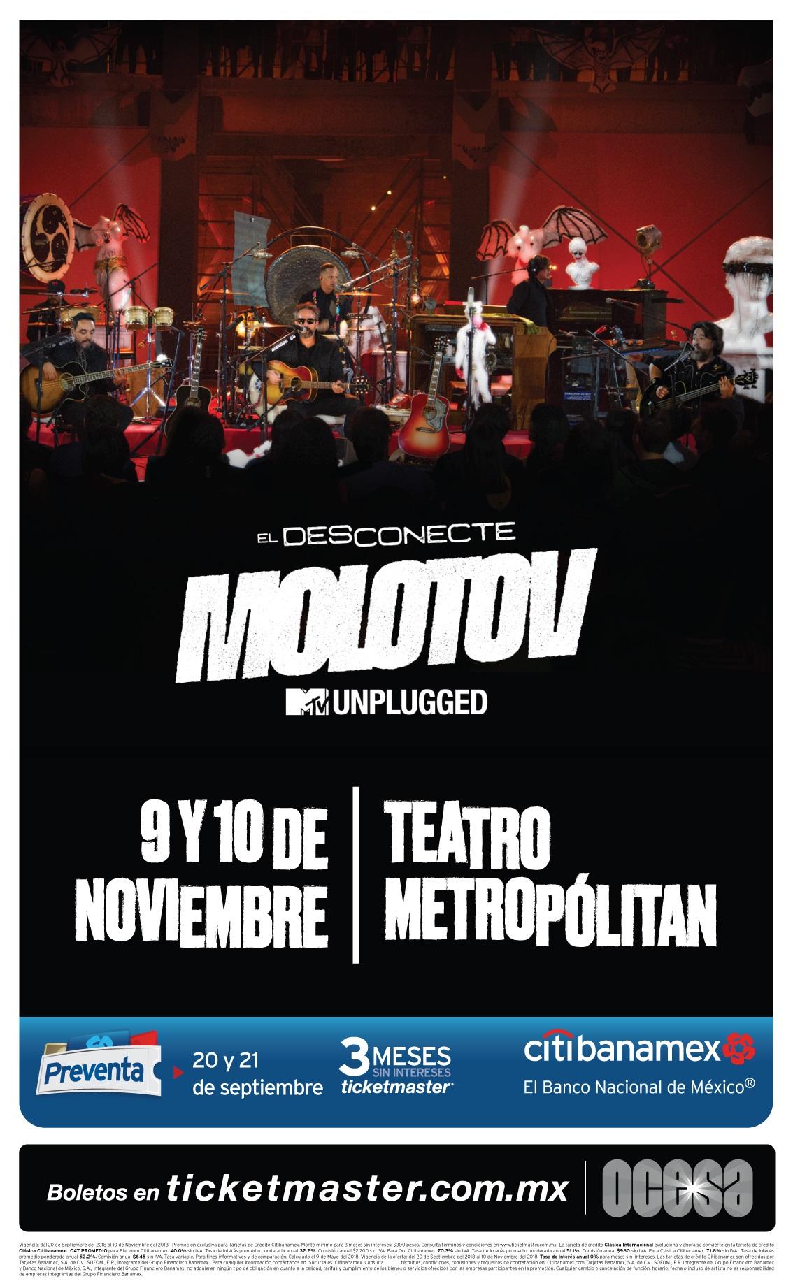 ¡Molotov presentará 'El Desconecte' en el Teatro Metropólitan con dos conciertos!
