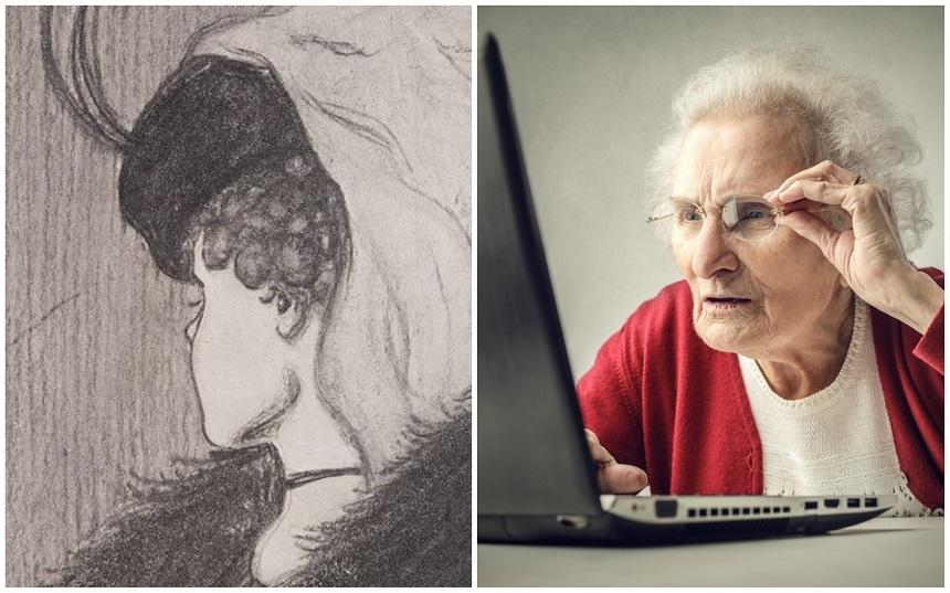 Ilusión óptica mujer joven y anciana