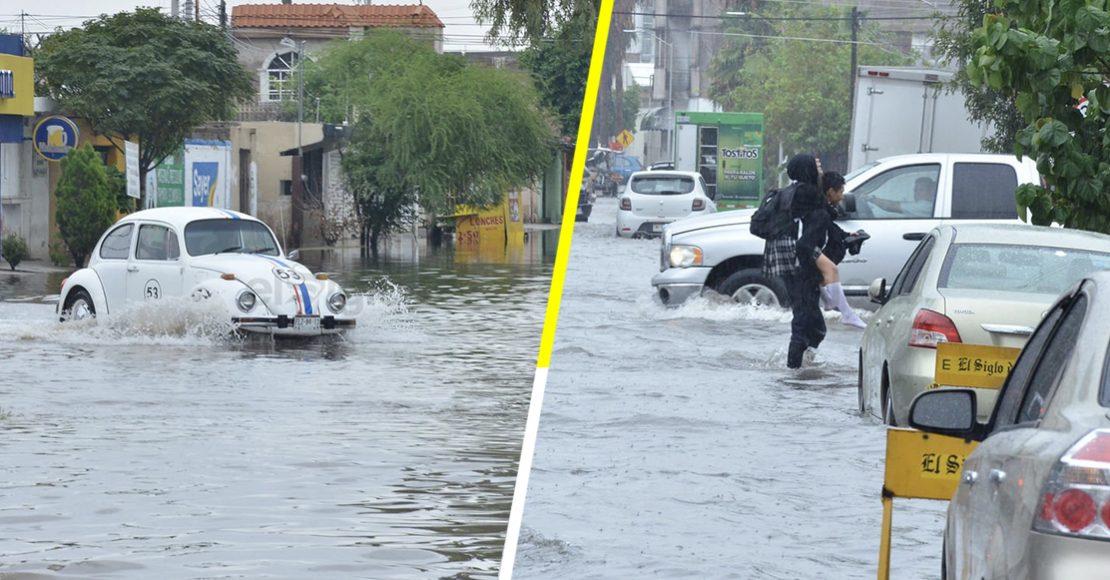 Fuertes lluvias inundan Torreón, en Coahuila, y va a seguir lloviendo
