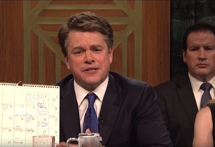 Así imitó Matt Damon a Brett Kavanaugh para Saturday Night Live