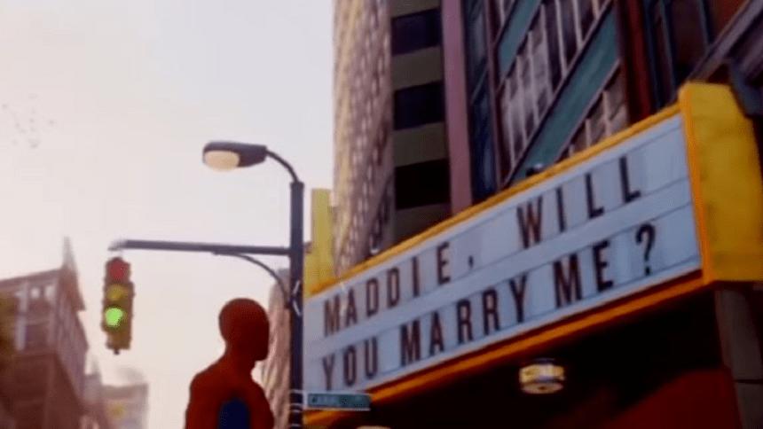 Propuesta escondida en juego de Spider-Man