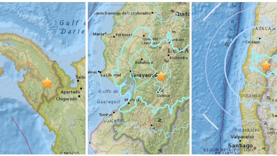 Cadena de sismos en Panamá, Ecuador y Chile