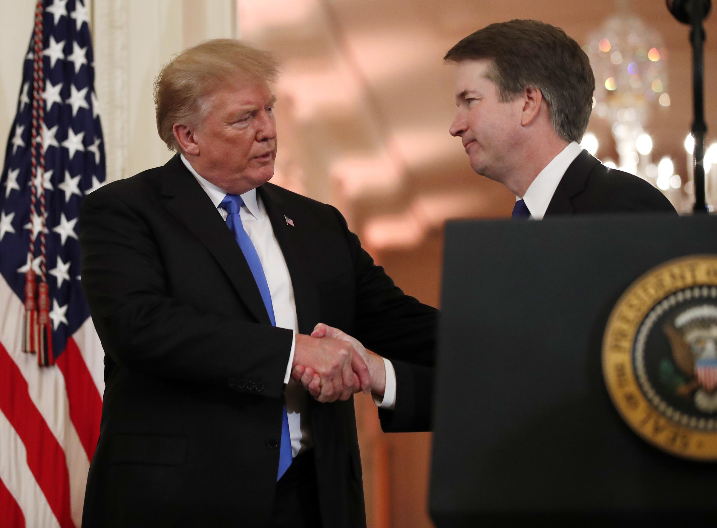 President Donald Trump shakes hands with Judge Brett Kavanaugh his Supreme Court nominee, in the East Room of the White House, Monday, July 9, 2018, in Washington. (0