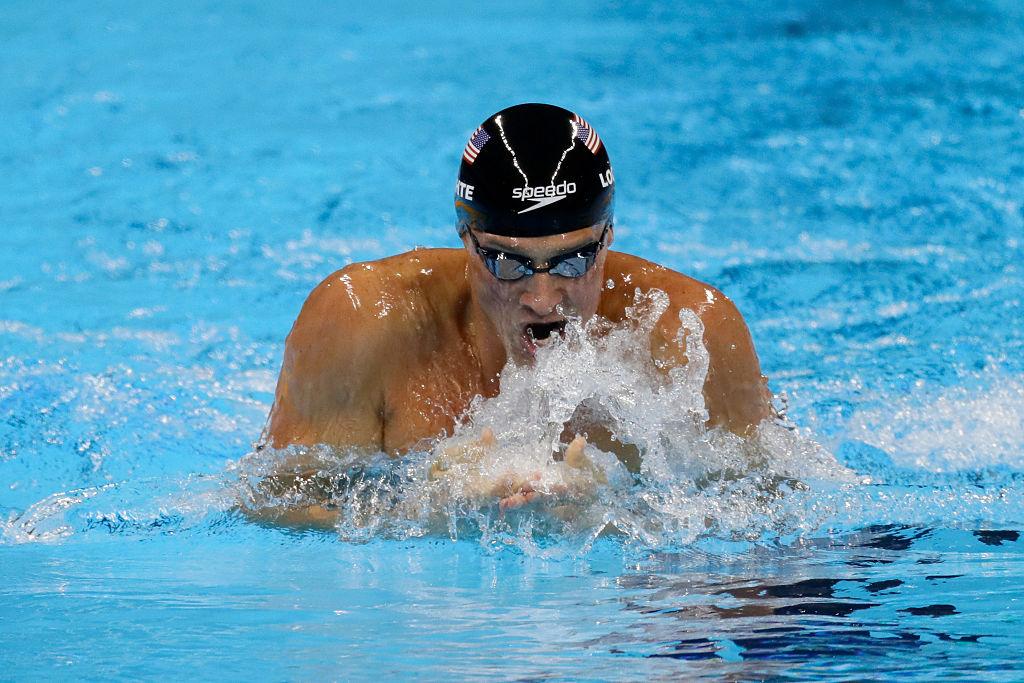 lochte en competencia en Río 2016