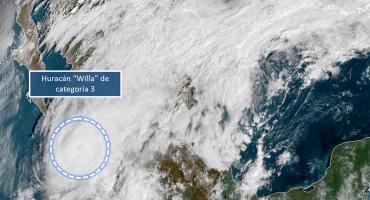 Huracán Willa se degrada a categoría 3, se dirige hacia Islas Marías