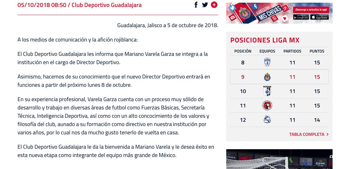Mariano Varela regresa a Chivas como Director Deportivo
