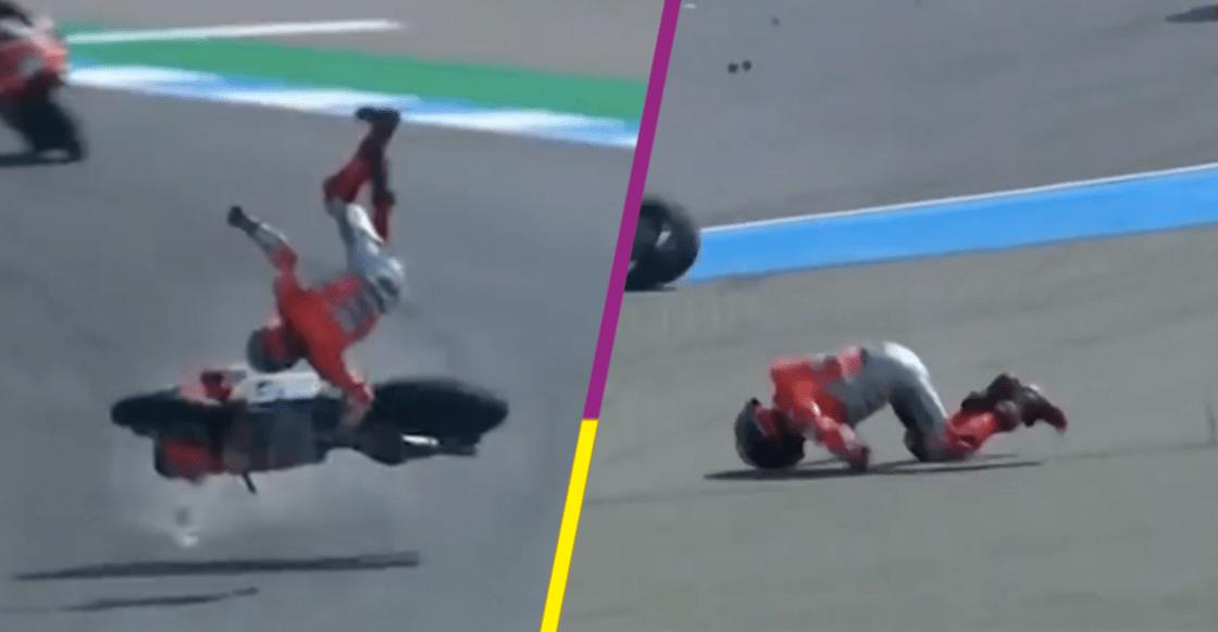 ¡Vivió para contarla! Piloto del Moto GP sale disparado a 100 kilómetros por hora