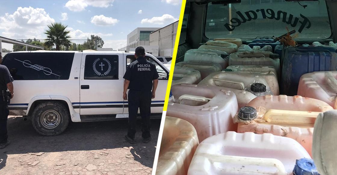 Encuentran carroza fúnebre con mil 150 litros de gasolina en Hidalgo
