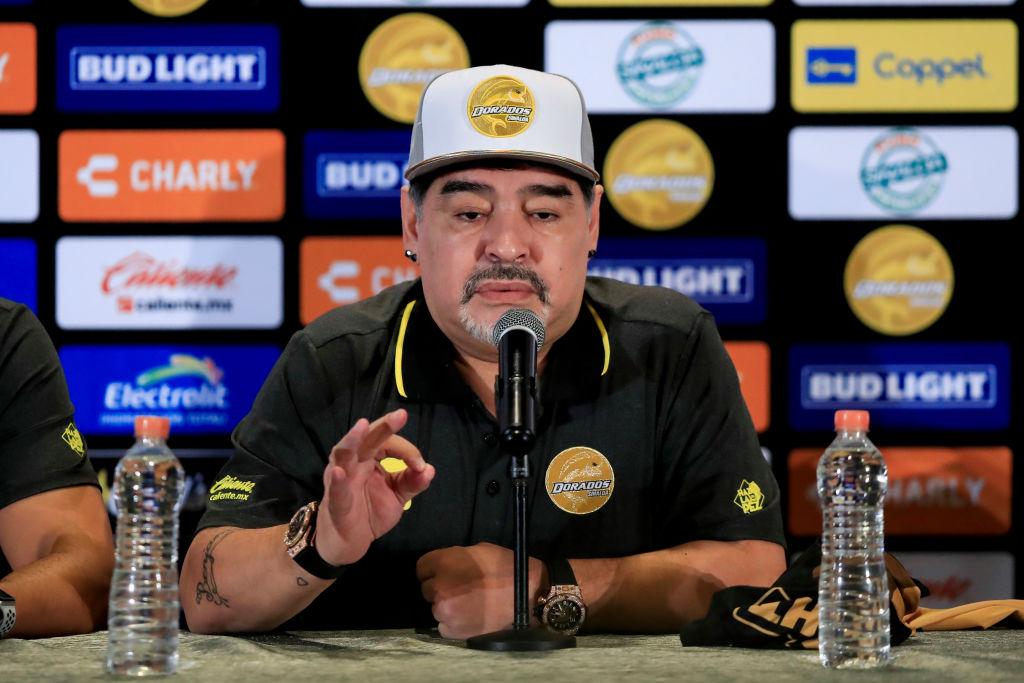 Maradona, el día de su presentación con Dorados