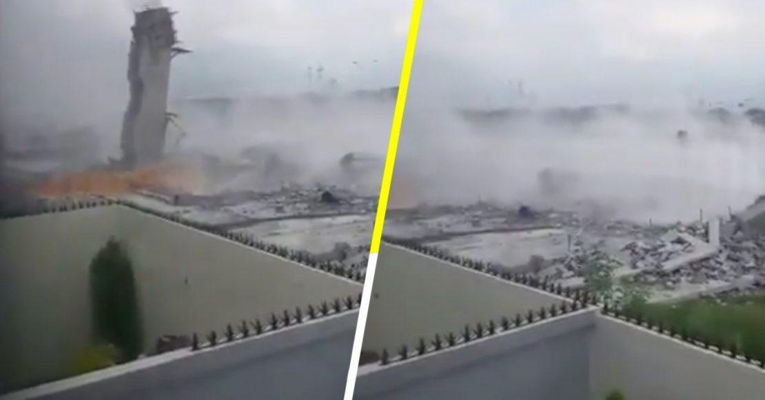 Se reporta derrumbe en plaza comercial en Monterrey; al menos 10 personas atrapadas