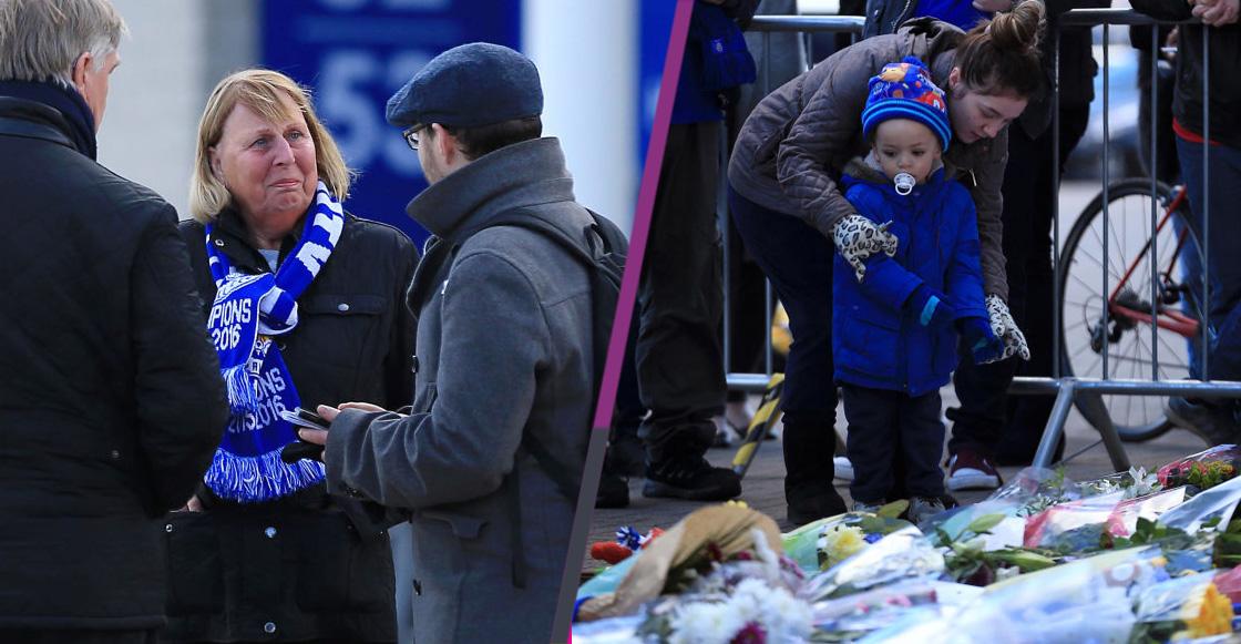 En imágenes: El King Power Stadium del Leicester se convierte en un altar por la muerte de su Presidente