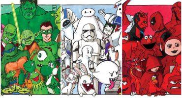 Así se verían varios personajes de ficción ordenados por colores