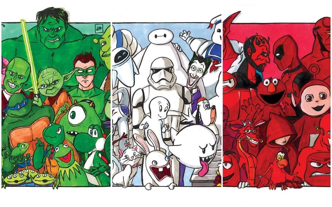 Personajes de ficción ordenados por colores