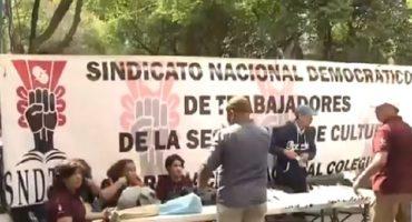 A Tlaxcala no: trabajadores de Secretaría de Cultura hacen plantón en casa de transición