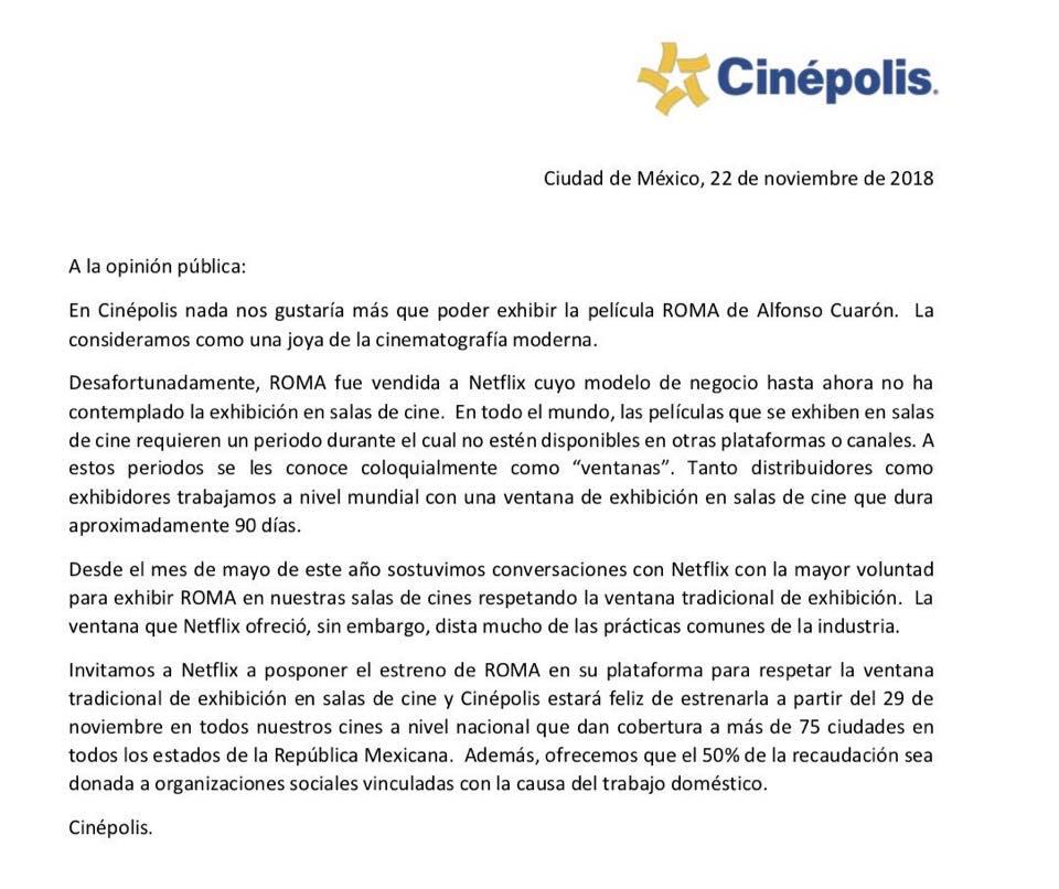 cinepolis-pide-netflix-retrasar-roma-cuaron-comunicado