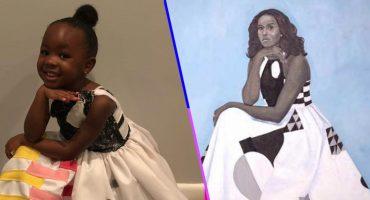 ¡Awww! Una niña se disfrazó del retrato de Michelle Obama y ella le respondió