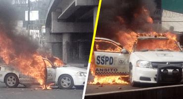 Saqueos e incendios de patrullas ante el bloqueo en la México-Pachuca