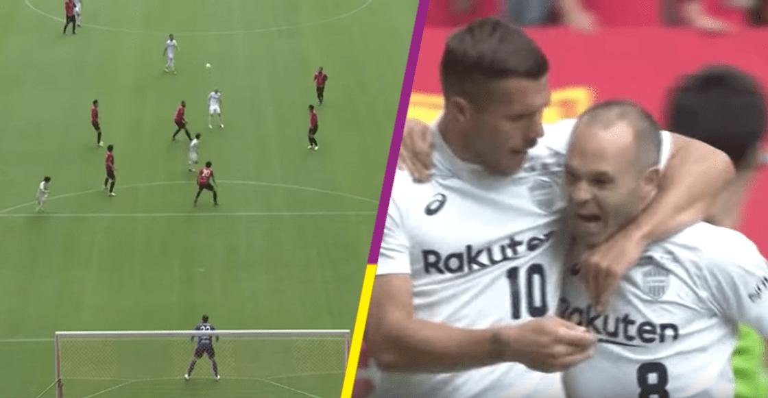 Genial asistencia de Iniesta para gol de Podolski en Japón