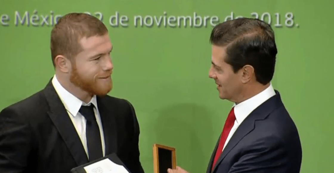 Peña Nieto entrega su último Premio Nacional del Deporte a 'Canelo' y Alegna González