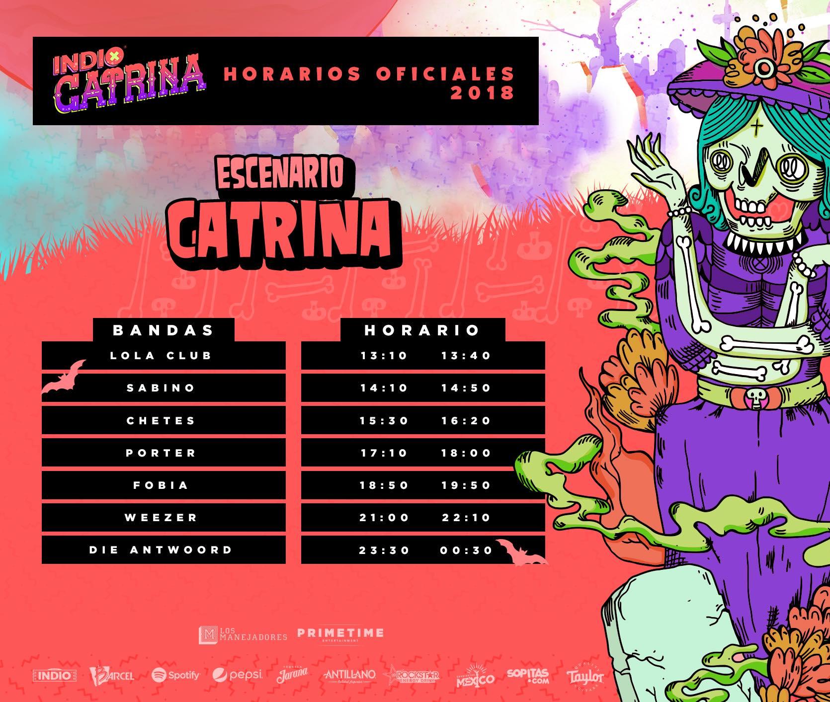 ¿Listos para rockear? ¡Ya están los horarios del Festival Catrina 2018!