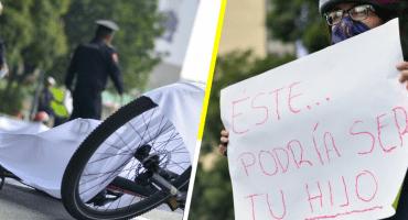 '¡No más muertes viales!', ciclistas se manifiestan en la Glorieta de Insurgentes
