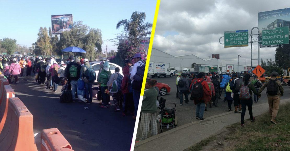 Migrantes bloquean a ratos la caseta Tepotzotlán para que les den un aventón
