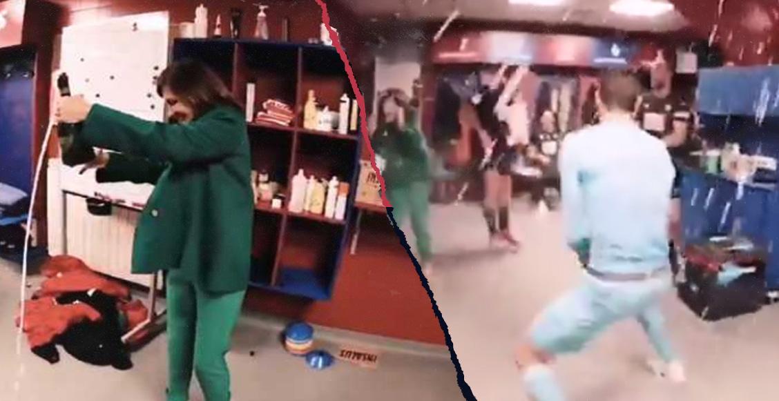 Cantos y champagne: Así festejó la Presidenta del Eibar con sus jugadores la goleada al Real Madrid