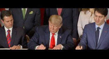 En cumbre G-20, Peña Nieto, Donald Trump y Justin Trudeau firman el T-MEC