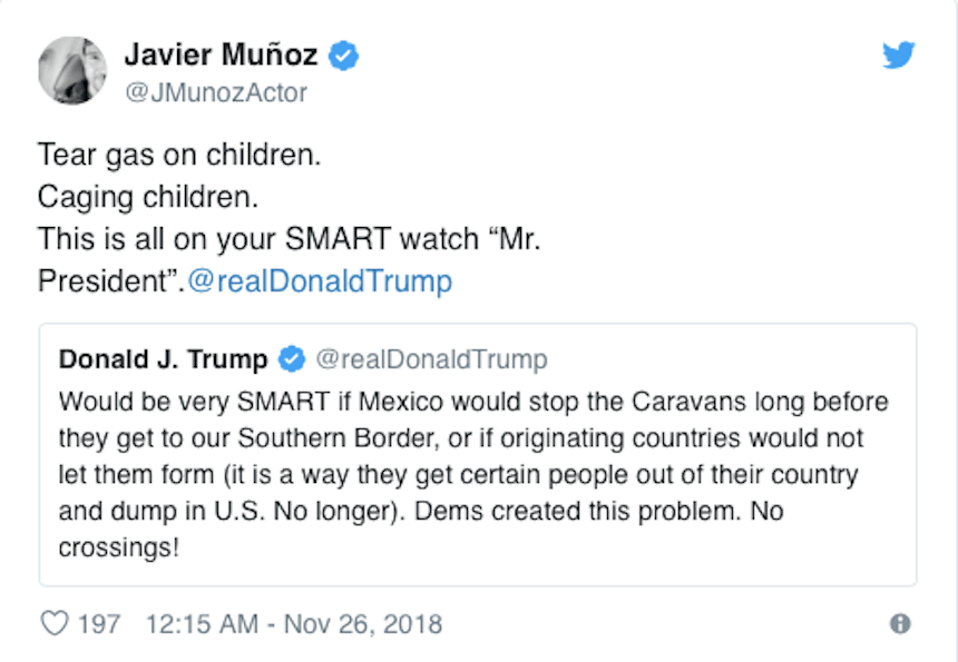 Las celebridades que condenan a Trump por usar gases lacrimógenos contra caravana migrante