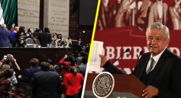 Tras zafarrancho entre PRI, PAN y Morena en Cámara de Diputados, AMLO dice: 'es el mundo al revés'
