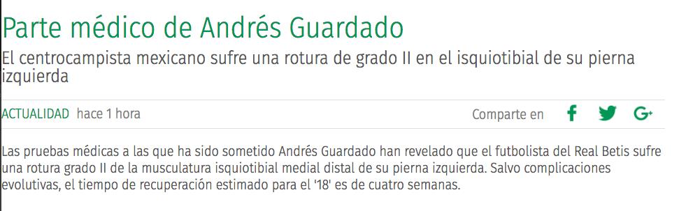 ¡Ánimo crack! Andrés Guardado fuera lo que resta del 2018 por lesión