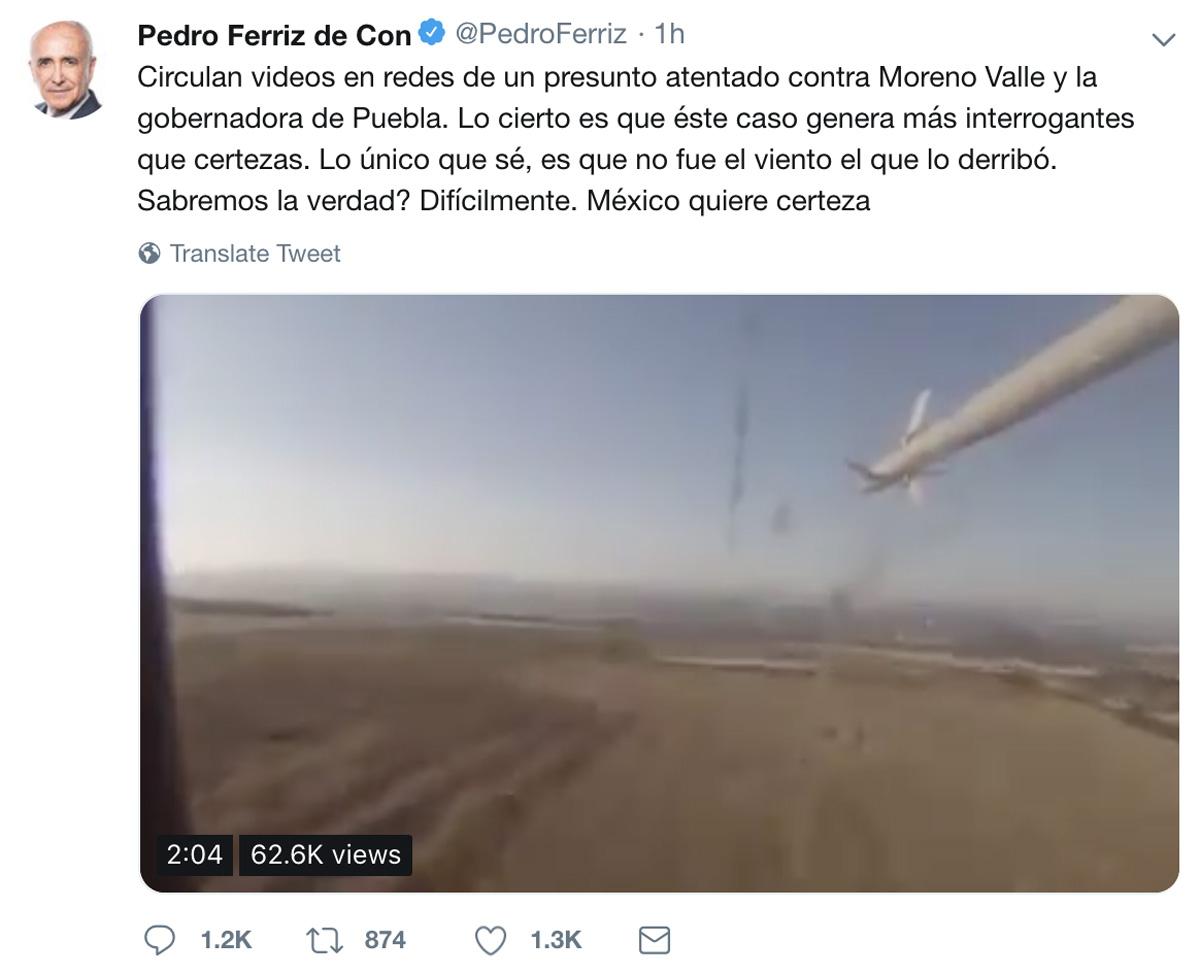 Video Difundido por Pedro Ferriz de Con sobre accidente de la gobernadora de Puebla