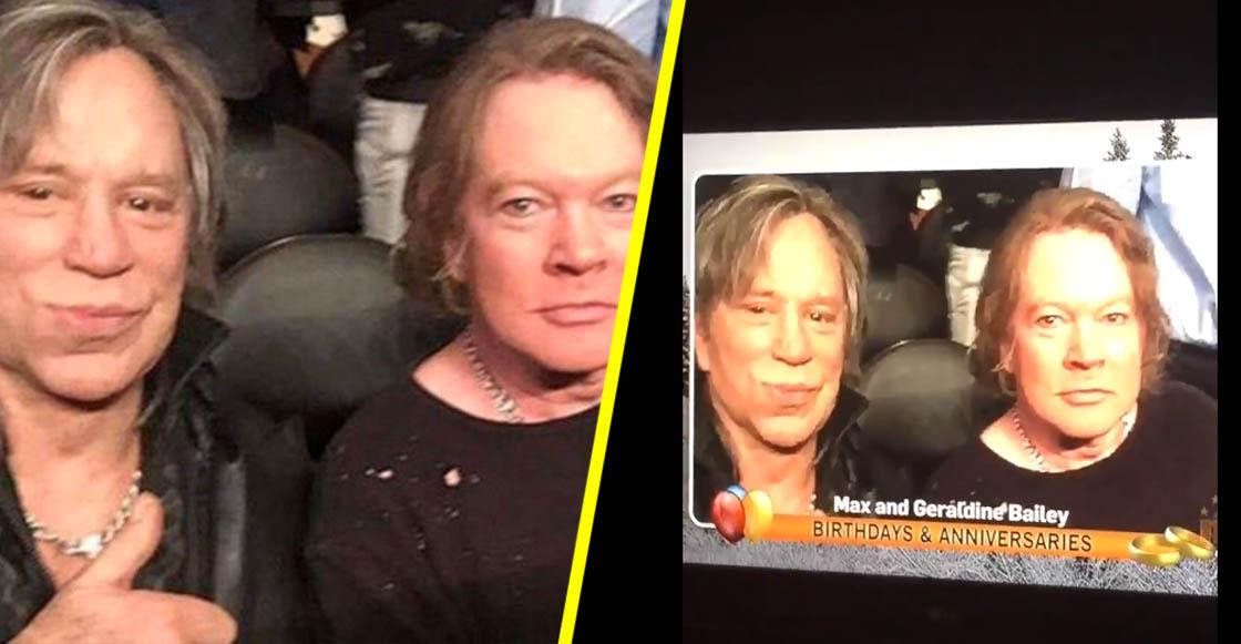 Felicitan en la televisión a Axl Rose y Mickey Rourke por su