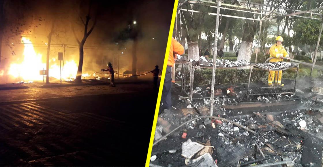 Un incendio consume el mercado navideño de San Pedro Cholula, en Puebla