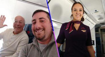 Este padre decidió volar con su hija que tuvo que trabajar como aeromoza en Navidad