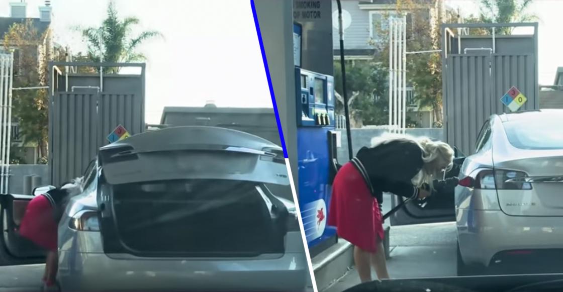 Esta mujer intentó ponerle gasolina a su Tesla... que claramente es eléctrico