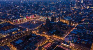 El resplandor navideño de la Ciudad de México visto desde un drone