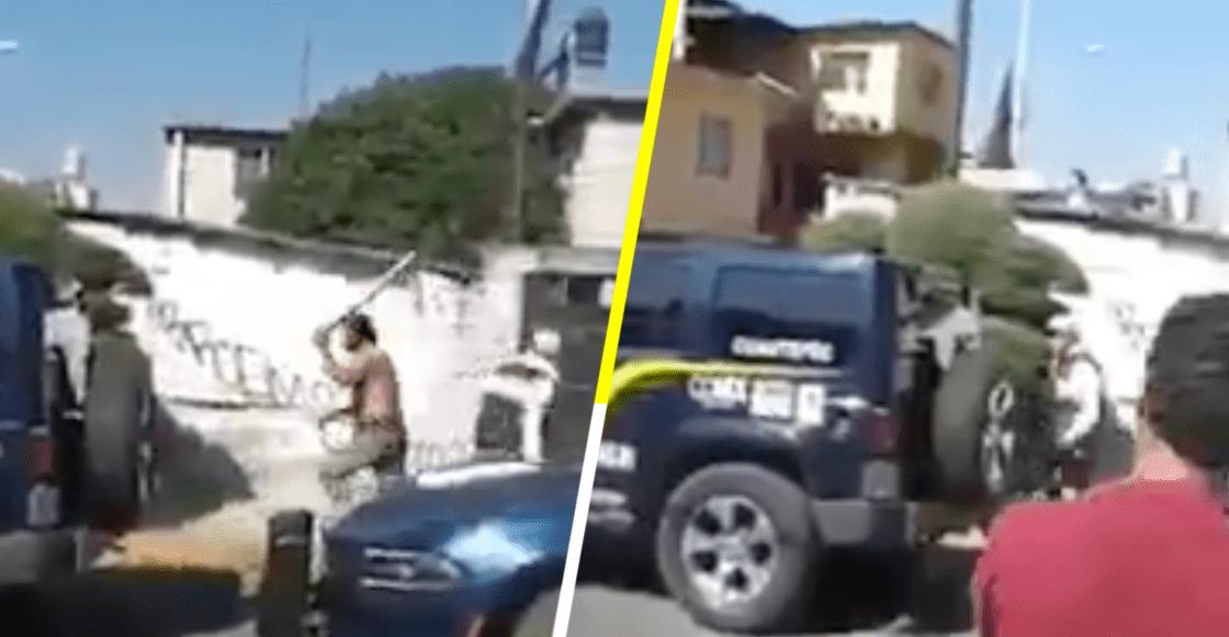"""""""¡Bájalos a los prros!"""", con todo y tubo sujeto arremete contra Policía CDMX"""