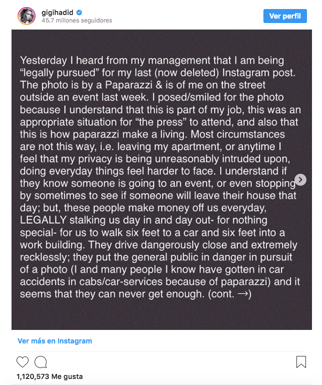 El colmo: Demandan a Gigi Hadid por subir una foto suya a Instagram
