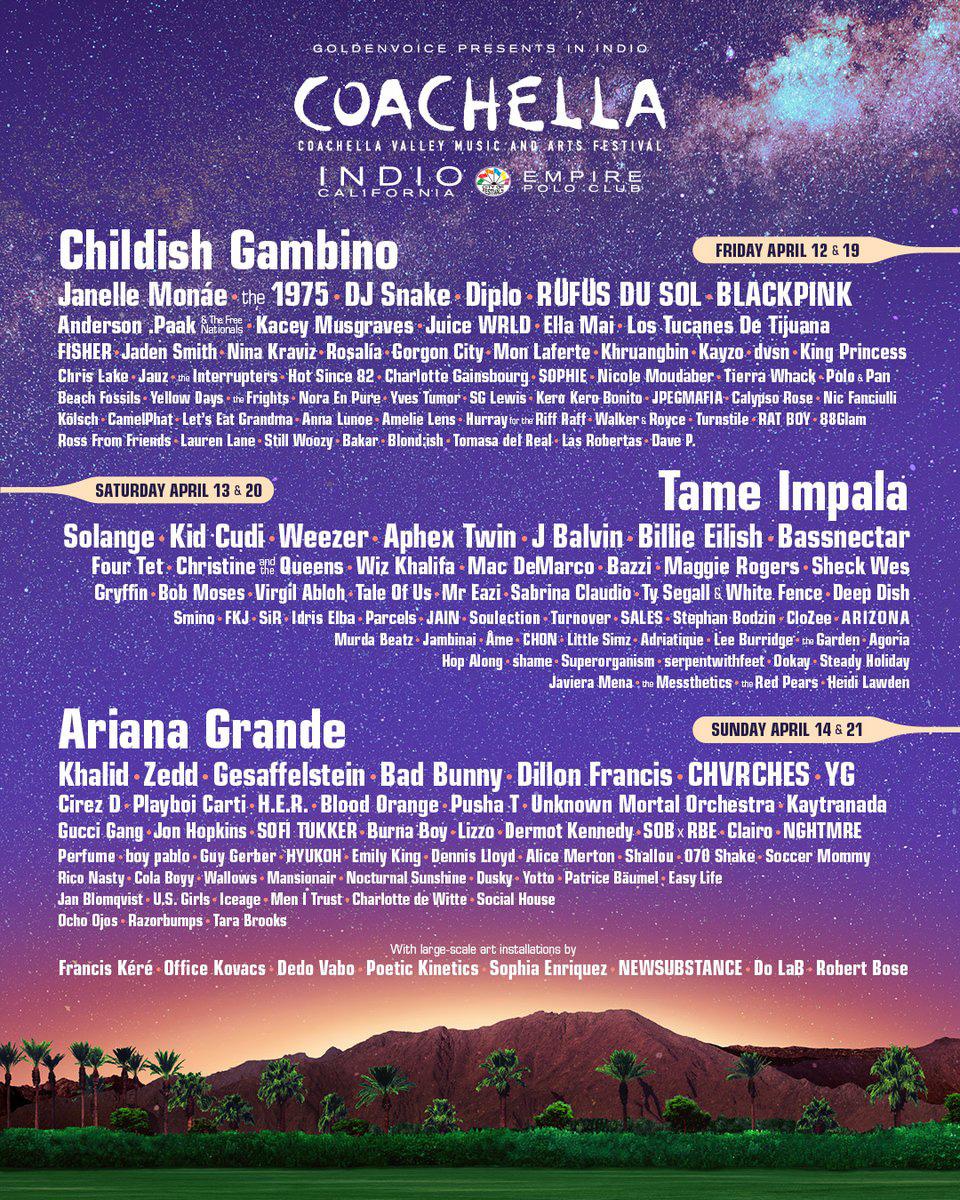 Childish Gambino, Ariana Grande y Tame Impala encabezan el Cartel Oficial de Coachella 2018
