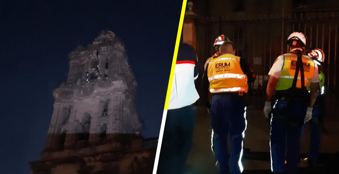 Rescatan a sujeto que subió al campanario de la Catedral Metropolitana